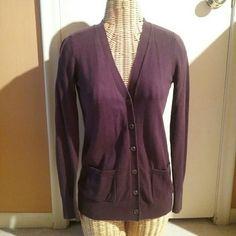 Eddie Bauer V-neck Cardigan Purple/Magenta long v-neck cardigan with pockets.  Super comfy!  Smoke free home. Eddie Bauer Sweaters Cardigans