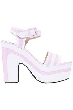 ROMWE | ROMWE Pink Striped Stitching Platform Sandals, The Latest Street Fashion