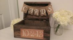 rustic card box, wood card box country wedding decor, burlap wedding banner on Etsy, $69.00