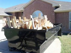 Dumpster for construction use   You can use these dumpsters that we offer for your construction. This is an image of a dumpster we used to put all those woods they'll be needing in renovating a house in Houston. They loved this dumpster because you can put anything without worrying about anything.