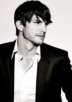 Ashton Kutcher in white custom dress shirt