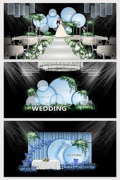 Blue minimalist light luxury wedding renderings#pikbest#decors-models Indian Wedding Receptions, Wedding Mandap, Wedding Stage Design, Wedding Stage Decorations, Peach Wedding Invitations, European Wedding, Industrial Wedding, Luxury Wedding, Backdrops