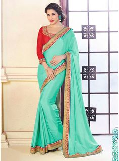 Sky Blue Silk Fabric With Patch Border Saree Sky Blue Silk Fabric With Patch Border Saree. This appealing attire is showing some fantastic embroidery done with lace, patch border work and resham work. Comes with a contrast black color blouse. http://www.angelnx.com/Wedding-Sarees/sky-blue-silk-fabric-with-patch-border-saree_5364