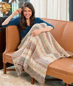 Natural Beauty Throw Free Knitting Pattern in Red Heart Yarns