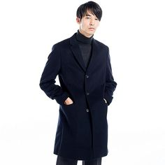 MEN WOOL CASHMERE CHESTERFIELD COAT, NAVY
