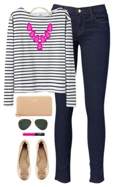 """""""stripes + pink"""" by classically-preppy ❤ liked on Polyvore featuring J Brand, Wood Wood, Tory Burch, Kendra Scott, Kate Spade, Ray-Ban, NARS Cosmetics, women's clothing, women and female"""