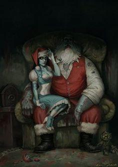 BioShock Christmas artwork by Unknown Author. Dark Christmas, Merry Christmas, Arte Horror, Horror Art, Dark Fantasy Art, Dark Art, Bad Santa, Retro Vintage, Very Scary