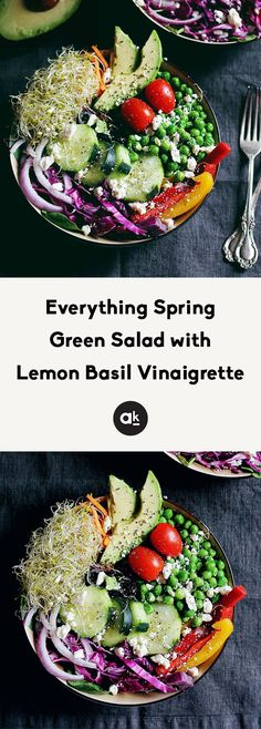 Beautiful & healthy spring green salad with fresh seasonal produce, seeds, avocado & the BEST basil lemon vinaigrette. Enjoy as a main meal, spring side salad, or it bring to a party! Vegetarian Recipes, Healthy Recipes, Healthy Dinners, Healthy Food, Healthy Lunches For Work, Photo Food, Green Salad Recipes, Easy Vegan Dinner, Fitness Models