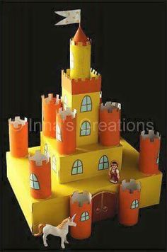 Cardboard castle with TP roll turrets