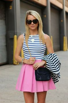 Pastel Pink and Navy Stripes