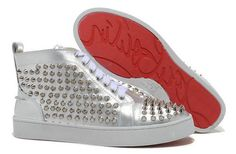 Christian Louboutin Louis All Silver Spiked Sharp Nail Sheepskin Hi Top Shoes
