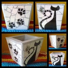 Que cosa fuera corazón, que cosa fuera…: – black and white m… What a heart thing, what a thing …: – black and white mosaic pot planter with cat silhouette and dog paw prints. by patsy Mosaic Planters, Mosaic Vase, Mosaic Flower Pots, Pebble Mosaic, Mosaic Tiles, Mosaics, Mosaic Crafts, Mosaic Projects, Mosaic Animals