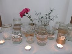 Handmade Jars with lace and Hessian by BowsandSurprises on Etsy Glass Jars, Mason Jars, Wedding Decorations, Table Decorations, Hessian, Wedding Supplies, Centerpieces, Christmas Gifts, Etsy