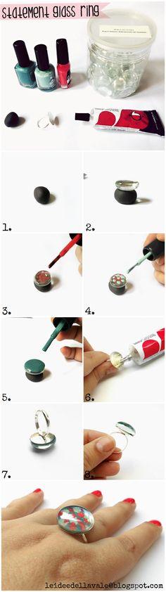 DIY da 1 Euro - Photo tutorial Statement Glass Ring