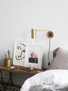 Cute interior! Bedside table art | Hesby www.shophesby.com