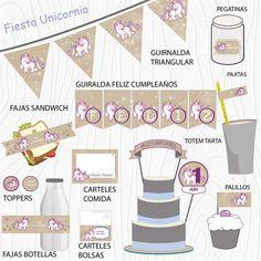 Imprimible Unicornio marron  #Fiesta #cumpleaños #printables #niños #etiquetas #plantillas #niños Calendar, Holiday Decor, Kit, Home Decor, Garlands, Decorations, Unicorn Party, Chopsticks, Happy Birthday