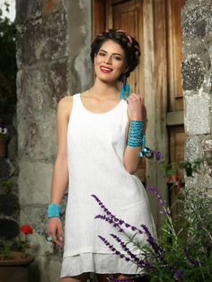 Like a summer snowflake...  Elna linen dress.