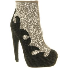 Jeffrey Campbell Grammer black grey silver studs ($190) ❤ liked on Polyvore