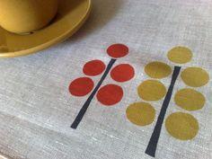 Linen Placemats Modern Trees Orange & Mustard Hand Printed (set of 4). $40.00, via Etsy.
