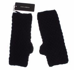 Black Knitted Wool Leather Fingerless Mens Gloves