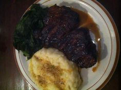 J's Steakhouse filet mignon with garlic roasted mashed potatoes and steamed spinach #casual