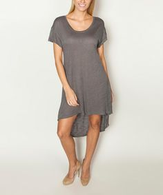 Another great find on #zulily! Heather Gray Scoop Neck Hi-Low T-Shirt Dress #zulilyfinds