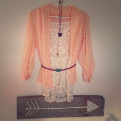 ✨LC peach & white dot open semi sheer blouse✨ Excellent condition, like brand new! Beautiful color and style. Top is 100% polyester and has a flowy feel. LC Lauren Conrad Tops Blouses