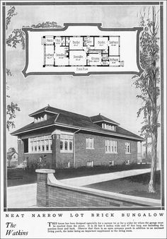 1925 Chicago Style Bungalow - Vintage House Plan for a Small House - Home Builders Blue Book by William A. Radford - The Watkins Plan