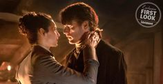 Outlander: Claire and Jamie embrace in new print shop pic