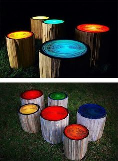 Log stools painted with glow in the dark paint.. for camping or Night time BBQ Parties  to find and buy Glow in dark paint they are found in Craft stores, and retail stores and online