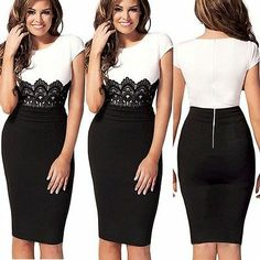 █ ██ Womens Celeb Lace Wear to Work Evening Cocktail Party Bodycon Pencil Dress | eBay