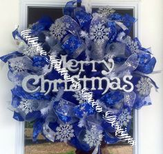 Whimsical Merry Christmas Blue & Silver by AubreePotterDesigns, $70.00