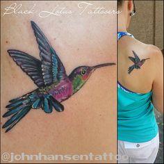Fun small hummingbird. Her first tattoo! We may add some mild background and a flower later :) #hummingbirdtattoo #realistictattoo  #illustrativetattoo #colorrealismtattoo #birdtattoo #blacklotustattooers @blacklotustattooers