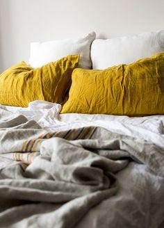 Society pillowcases & Coyuchi organic linen bedding #homedesires