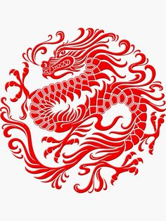 'Traditional Red Chinese Dragon Circle' Sticker by jeff bartels Traditioneller roter chinesischer Drachenkreis von JeffBartels This image has get. Red Dragon Tattoo, Dragon Tattoo For Women, Chinese Dragon Tattoos, Dragon Tattoo Designs, Dragon Art, Logo Dragon, Chinese Logo, Chinese Symbols, Chinese Zodiac
