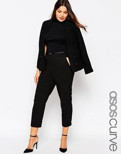 ASOS CURVE Cigarette Trousers With Belt