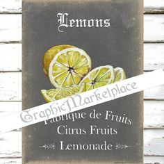 Chalkboard Lemons Citrus Fruits Confitures by GraphicMarketplace