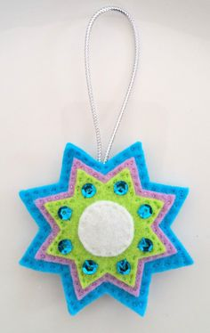 Felt Christmas Ornament – Vintage Inspired 8-point Star - Blue - pinned by pin4etsy.com