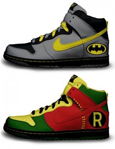 Batman & Robin Nike Air Force Ones WANT!!