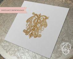 Vintage Wedding Monogram WF FW Digital Download W F by tatteredvintage on Etsy