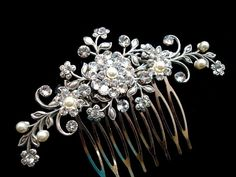 Wedding hair comb, bridal hair comb, Flower hair comb, vintage style hair accessory, rhinestone head piece on Etsy, $83.51 AUD