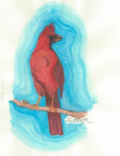 The Cardinal by Jeanne Gordon. Check out her site: http://www.mouthstickart.com/  etsy site coming soon!