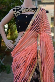 indian fashion Modern -- Click visit link to see Saree Blouse Neck Designs, Choli Designs, Stylish Blouse Design, Designer Blouse Patterns, Blouse Models, Stylish Sarees, Fancy Sarees, Indian Designer Wear, Indian Outfits