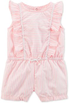 Carter's uses delicate stripes and a tiny bow at the waist to highlight the sweet style of this comfy romper for baby girls. Ruffled romper for baby girls by Carter's now on sale. Afflink.