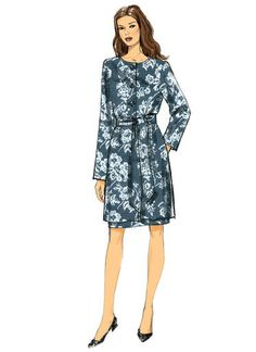 V9123   Misses' Collarless Jacket, Belt and Sleeve-Flounce Dress   Vogue Patterns