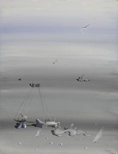 Yves Tanguy developed an interest in the surrealist movement during the early decades of the century, creating vague but evocative and meticulously rendered images that suggested dreams and the Surrealism Painting, Artist Painting, Abstract Paintings, Yves Tanguy, Peggy Guggenheim, Rene Magritte, Cleveland Museum Of Art, Gray Background, Famous Artists