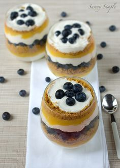 #blueberry #desserts Blueberry Passionfruit Cheesecake Parfait ~ Savory Simple