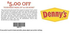 Denny's coupon for $5 Off $20 Or More via Yipit - http://yipit.com/business/dennys/5-off-20-or-more/