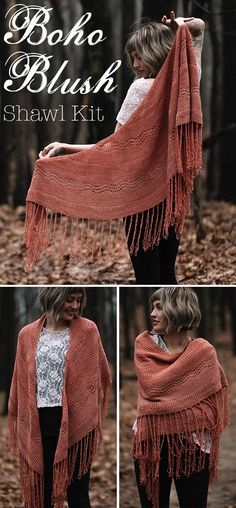 This romantic shawl is knit up in a hue reminiscent of the flush of ones cheeks and finished off with some bohemian fringe. The gentle crescent shape begs to hug your shoulders and the brioche and lace stripes make for an engaging knit combined with relaxing garter stitch! #kitterlykits