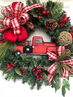 Red Truck Wreath, Buffalo Plaid, Rustic Christmas Wreath, Red Truck Christmas wr… - Home Decoration Christmas Red Truck, Plaid Christmas, Winter Christmas, Christmas Holidays, Christmas Crafts, Christmas Ornaments, Christmas Movies, Christmas Ideas, Christmas Trivia